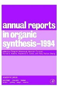 Annual Reports in Organic Synthesis 1994