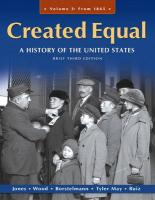 Created Equal, Volume 2: A History of the United States: From 1865