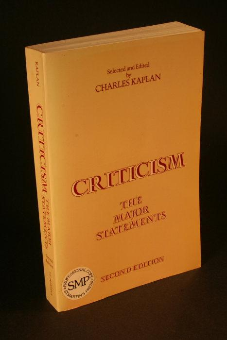 Criticism: the major statements - Kaplan, Charles, ed.