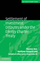 Settlement of Investment Disputes under the Energy Charter Treaty (Law Practitioner Series)