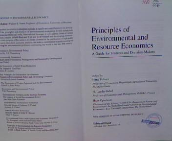 Principles of Environmental and Resource Economics: A Guide for Students and Decision-Makers (New Horizons in Environmental Economics) - Gabel, H.Landis , Henk Folmer and Hans Opschoor